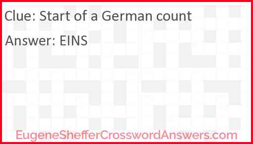 Start of a German count Answer