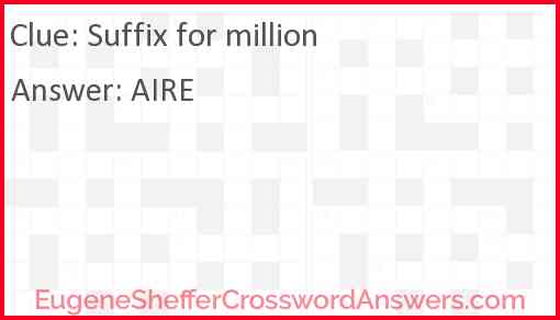 Suffix for million Answer