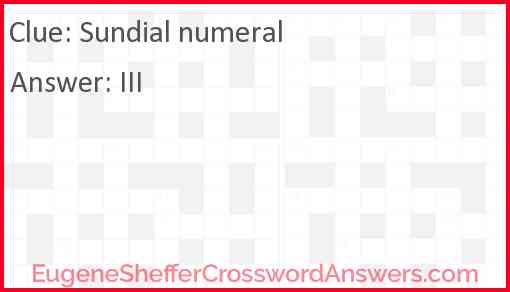 Sundial numeral Answer