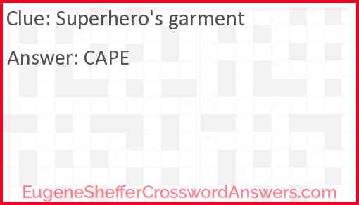 Superhero's garment Answer