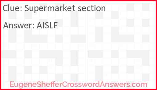 Supermarket section Answer