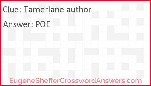 Tamerlane author Answer