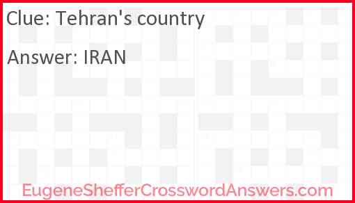 Tehran's country Answer
