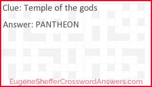 Temple of the gods Answer