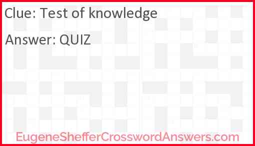 Test of knowledge Answer