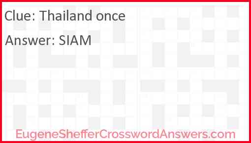 Thailand once Answer