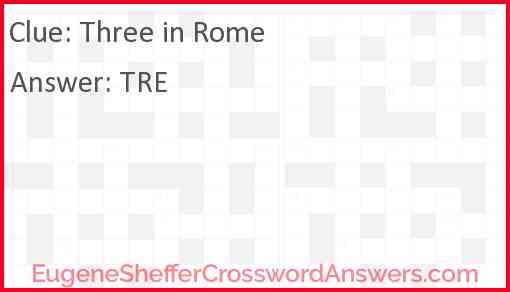 Three in Rome Answer
