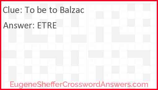 To be to Balzac Answer