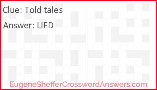 Told tales Answer