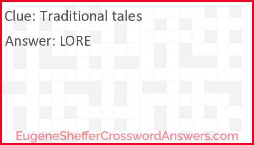 Traditional tales Answer