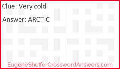 Very cold Answer