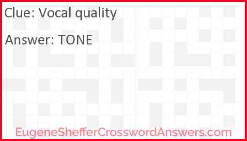 Vocal quality Answer