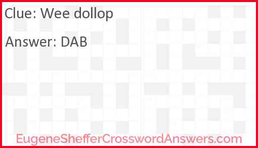 Wee dollop Answer