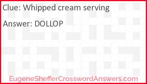 Whipped cream serving Answer