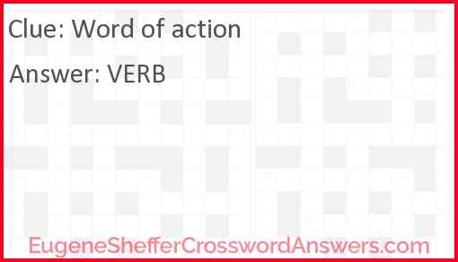 Word of action Answer