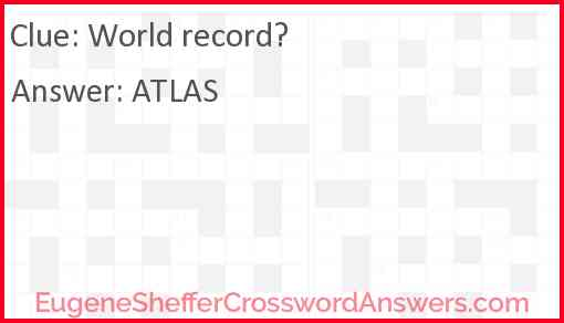 World record? Answer