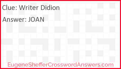 Writer Didion Answer